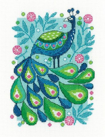 Heritage Crafts Birds Of A Feather Cross Stitch Kit - Peacock